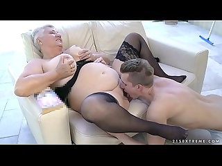 Fat grandma's tits covered with jizz