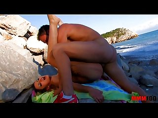 Perfect babe fucked at the beach