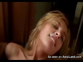 Wild blonde bitch gets cum facial
