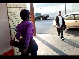 Ebony Girl exposing herself in public