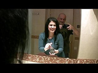 Having fun behind the scene in the bathroom with montse swinger