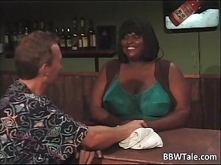 Horny busty ebony chick with huge boobs
