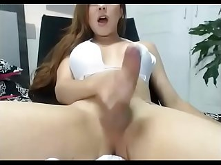 Tgirl with beautiful cock masturbates and cums on webcam