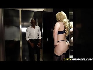 Curvy bimbo shemale Barebacked by big black cock