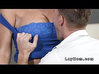 Young guy fucks busty brunette milf