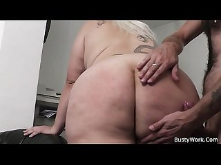 Busty blonde Secretary Forced to Blowjob and Sex