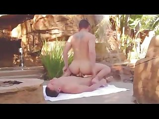 Calm and soft passionate outdoor gay sex