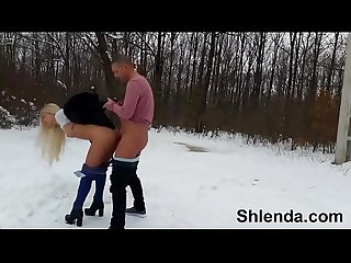 Winter sex in show outdoor period sexy russian schoolgirl teen and mature daddy