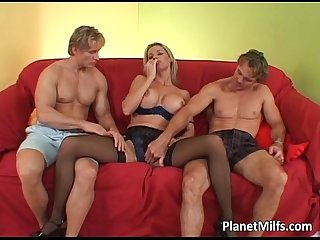 Milf blonde hooker fucks two big cock