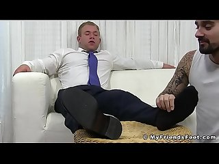 Buff hunk Jake enjoys feet worship session with new employee