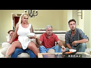 Stepmom milf seduces her Stepson with his dad right there