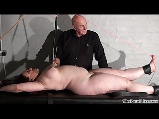 Chubby rack punishment of amateur slave in extreme bdsm and hardcore