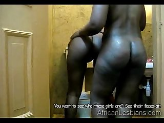 Black African lesbian tongues busty ebony girlfriend