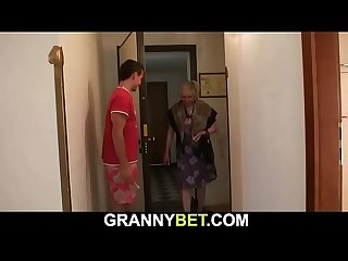 He brings busty old grandma home for play