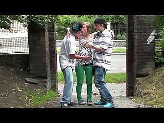 Street threesome with cute teen blonde girl Alexis Crystal and 2 young guys