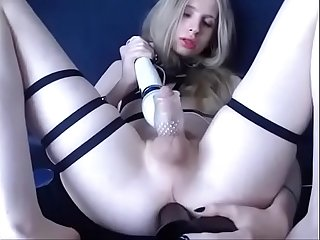 Blonde Teen shemale visceratio masturbates with dildo in Ass