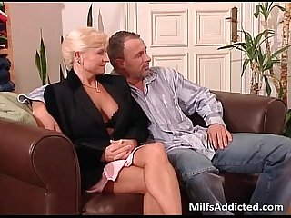 Two slutty MILF blondes gets pussy