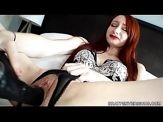 Redhead with Large Labia Masturbates with a Black Dildo