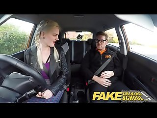 Fake driving school big tits hairy pussy student has creampie and squirts