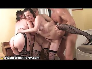 Three horny mature women are having