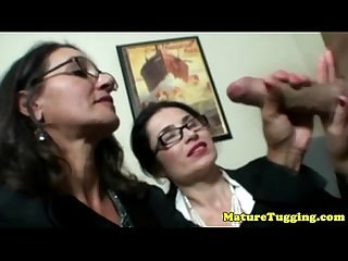 Brunette milfs with spex share his cock