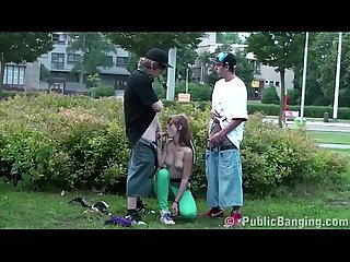 Alexis Crystal is fucked on the street by 2 teen guys in public gang bang orgy