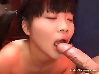 Skinny young asian sucks and spits jizz