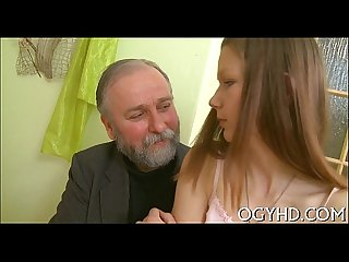 Beautiful young gal fucked by old lad