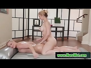 Milf client gets a oil massage from a perfect busty masseuse - Sarah Vandella & Ryan Keely
