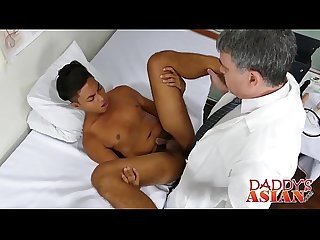 Handsome Asian twink gets his ass barebacked by horny doctor