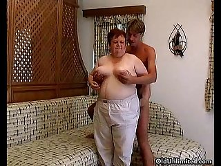 Old fat woman sucking hard in a guy s