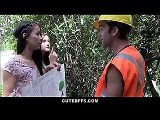 Cute Teen Best Friends Fuck Worker To Save Tree