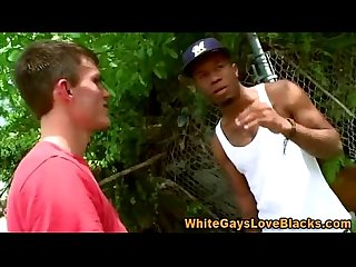 Interracial sex loving black guy gives white guy a blowjob