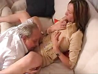 Old grandpa taboo family sex with daughter of his son