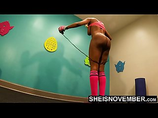 4K Msnovember Horny Old Coach Made Cute Little Ebony Spinner Jump Rope Naked In His Gym ,..