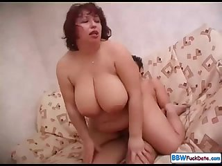 Plump russian mom fucks sons friend