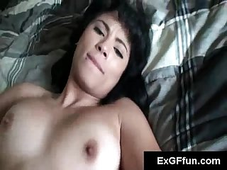 Brunette shakes big ass as she rides her byfriends cock in pov