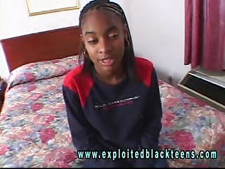 Ebony young black teen in black amateur video