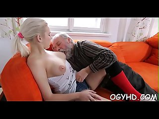 Horny young honey screwed by old guy