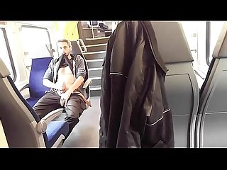 Exhibitionist shows his dick on the train