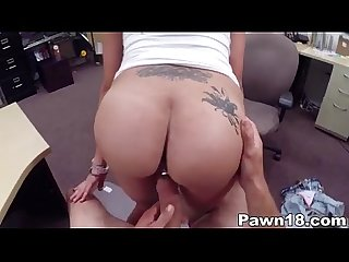 Latina with huge tits fucks at pawn shop
