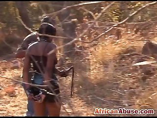 African ebony slave girl sucking riding