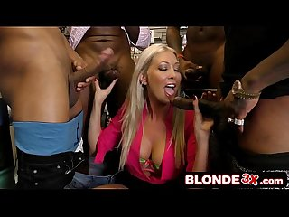 Adult Store Clerk Lexi Lowe Giving Head to a Bunch of Black Guys