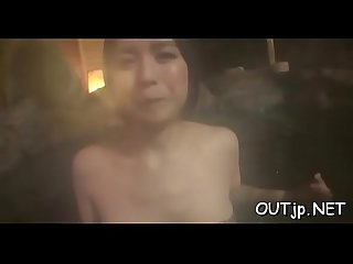 Breasty oriental banged outdoors