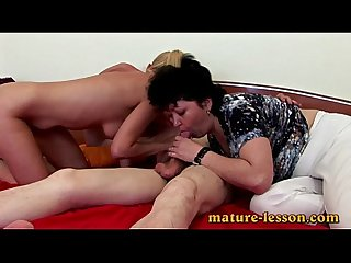 FFM trio in bed enjoying deep oral and fuck