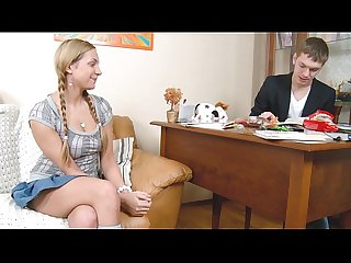 Anal for Blonde young teen lolita pussy with pigtails sucking fucking