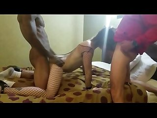 Hubby films hotwife fucked by three huge cocks