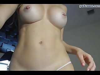 Busty college girl rams a huge dildo deep into her wet pussy paxcams.com