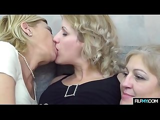 Mom, Daughter and Grandmother in Lesbian Threesome