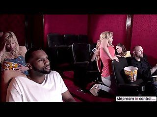 Cherie Deville and Molly Jane amazing threesome sex at a porno theatre